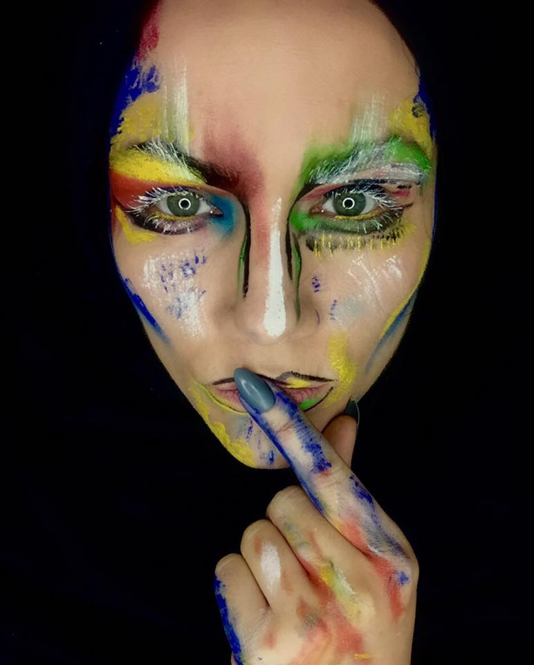 halloween makeup, colourful colours on face, mixed colours for foundation